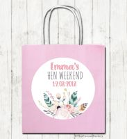 Feathers Floral Personalised Hen Night Paper Party Goody Bags x1