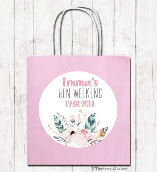Feathers Floral Personalised Hen Night Paper Party Bags x1