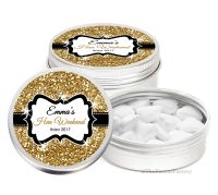 Gold Glitter Personalised Hen Night Party Favour Tins Keepsakes x1