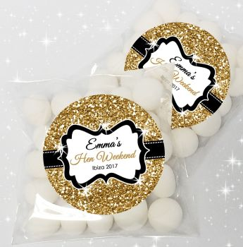 Gold Glitter Personalised Hen Party Sweet Bags Favours Kits x12