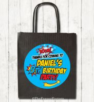 Boom Cartoon Superhero Personalised Paper Birthday Party Bags x1