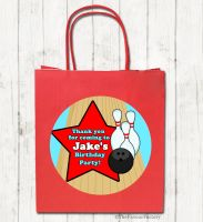 Bowling Personalised Paper Birthday Party Bags x1