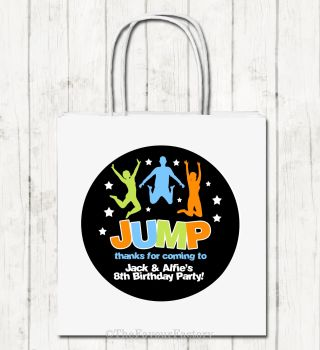 Jump Trampoline Park Personalised Paper Birthday Party Bags x1