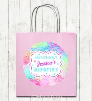 Rainbow Mosaic Personalised Paper Birthday Party Bags x1