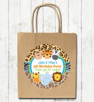 Cute Wild Animals Prints Personalised Paper Birthday Party Bags x1