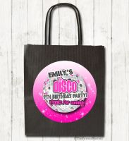 Disco Ball Pink Personalised Paper Birthday Party Bags x1
