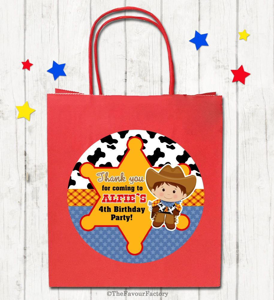Cowboy Theme Personalised Paper Birthday Party Bags x1