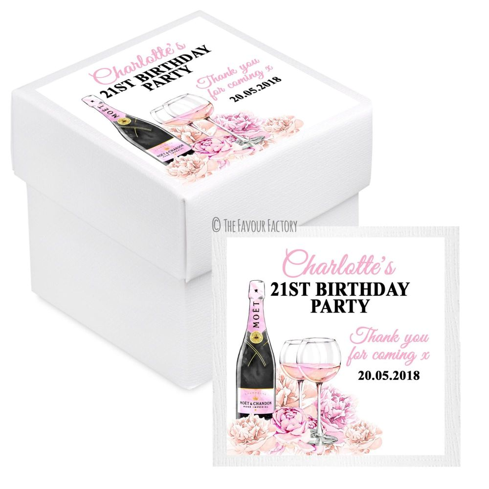 Personalised Birthday Party White Favour Boxes x10