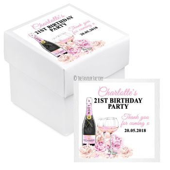 Champagne & Flowers Personalised Birthday Party Favour Boxes With Lids KITS x10