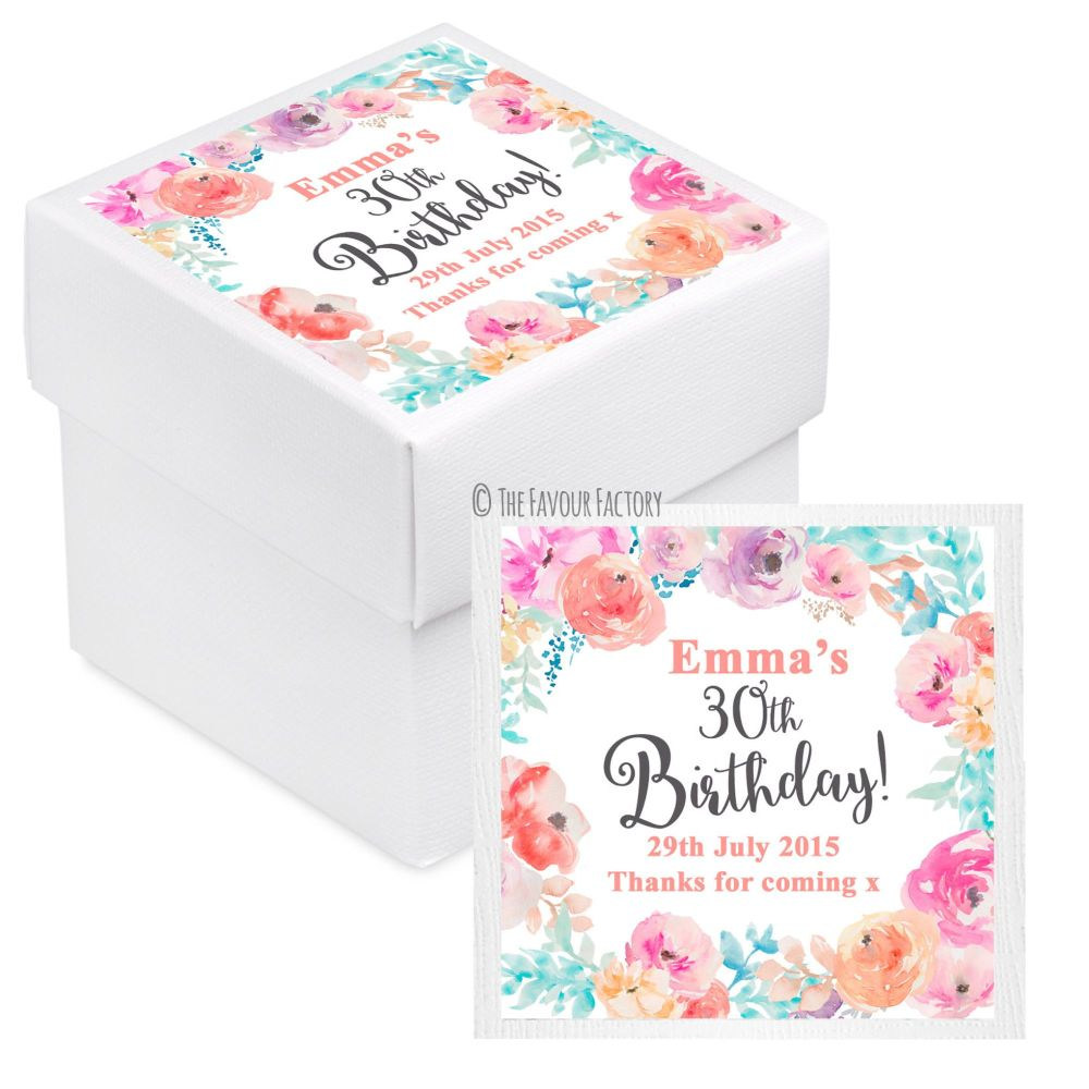 Emma Florals Personalised Birthday Party Favour Boxes With Lids x10