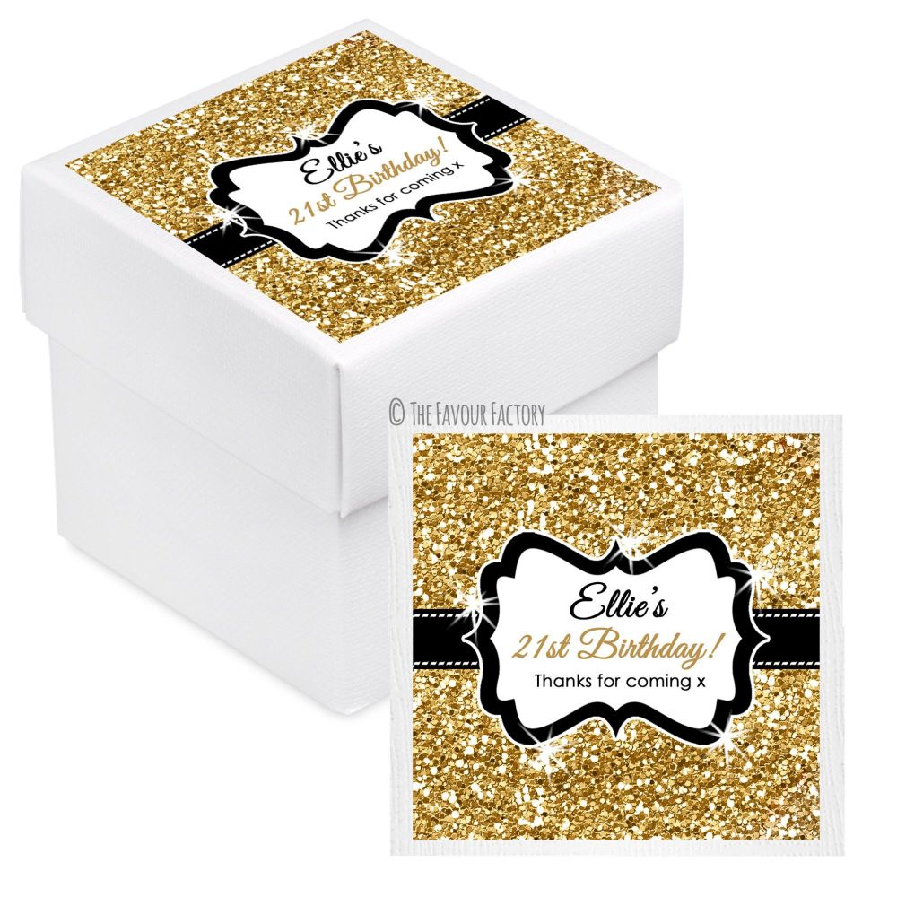 Gold Glitter Personalised Birthday Party Favour Boxes With Lids x10