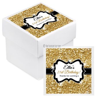 Gold Glitter Personalised Birthday Party Favour Boxes With Lids KITS x10