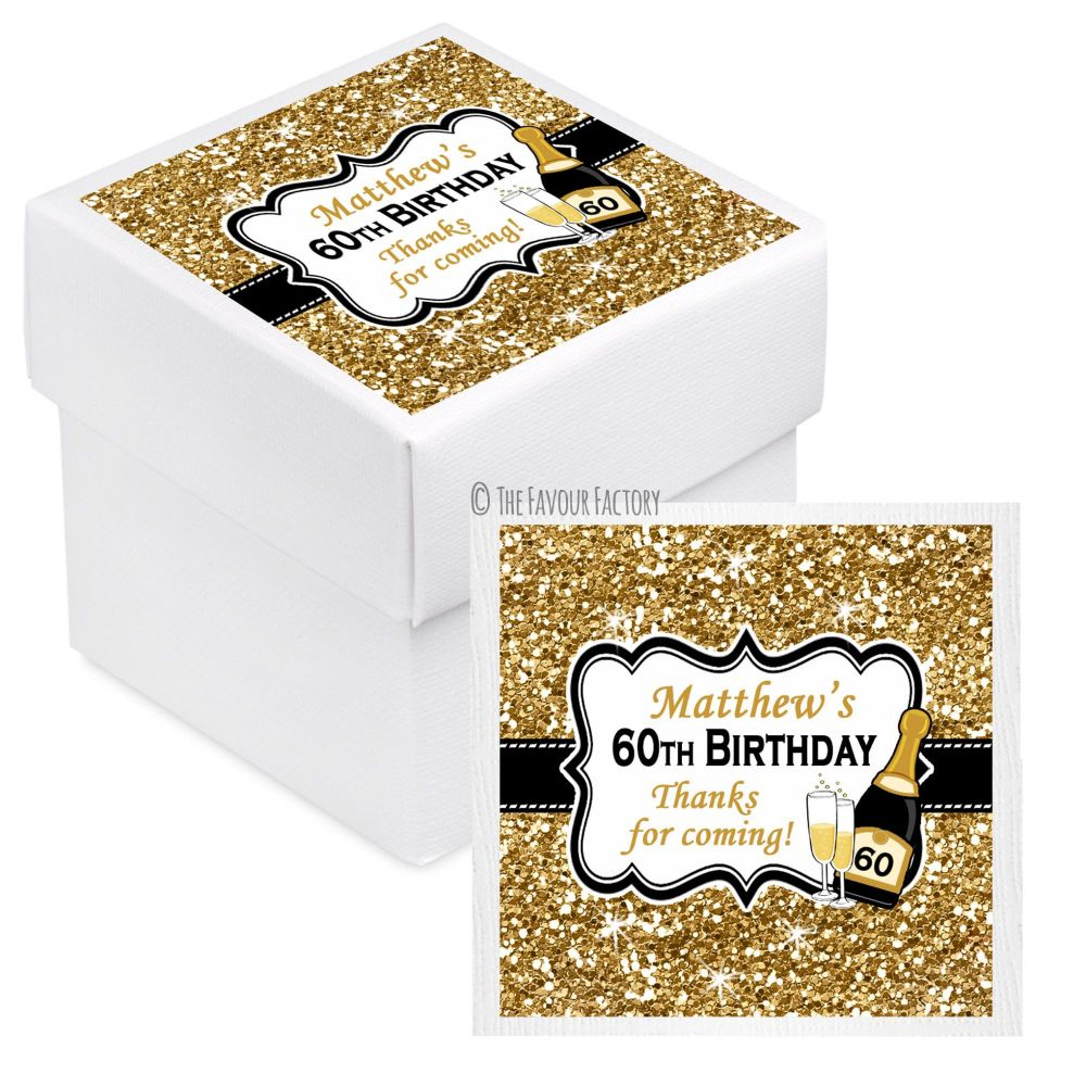 Champagne Gold Glitter Personalised Birthday Party Favour Boxes With Lids x