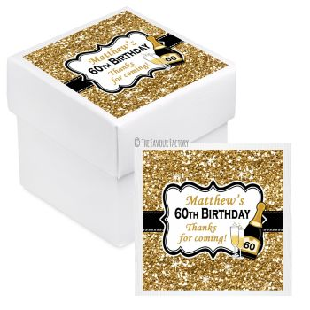 Champagne Gold Glitter Personalised Birthday Party Favour Boxes With Lids KITS x10