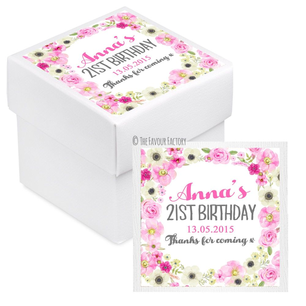 Anna Florals Personalised Birthday Party Favour Boxes With Lids x10