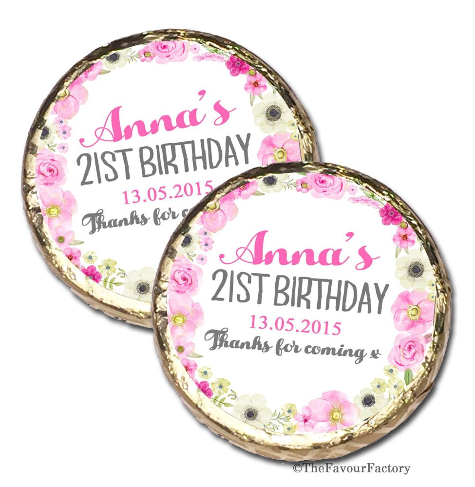 Anna Florals Personalised Birthday Party Chocolate Favours x 40 pieces