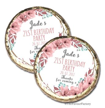 Boho Floral wreath Personalised Birthday Party MINT Chocolate Favours x 10 pieces
