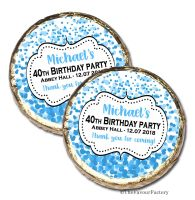 Confetti Blue Personalised Birthday Party Chocolate Favours x 10 pieces