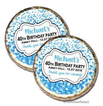 Confetti Blue Personalised Birthday Party MINT Chocolate Favours x 10 pieces