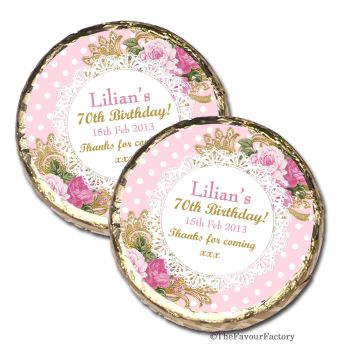Vintage Ornate Roses Personalised Birthday Party MINT Chocolate Favours x 10 pieces