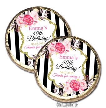 Black Stripe Florals Personalised Birthday Party MINT Chocolate Favours x 10 pieces