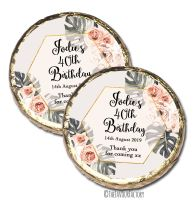 Boho Floral Frame Personalised Birthday Party Chocolate Favours x 10 pieces