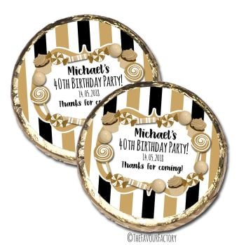 Black & Gold Sweets Personalised Birthday Party MINT Chocolate Favours x 10 pieces