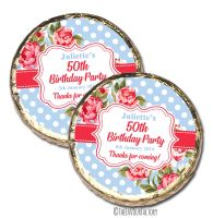 Cath Polka Dots Floral Personalised Birthday Party MINT Chocolate Favours x 10 pieces