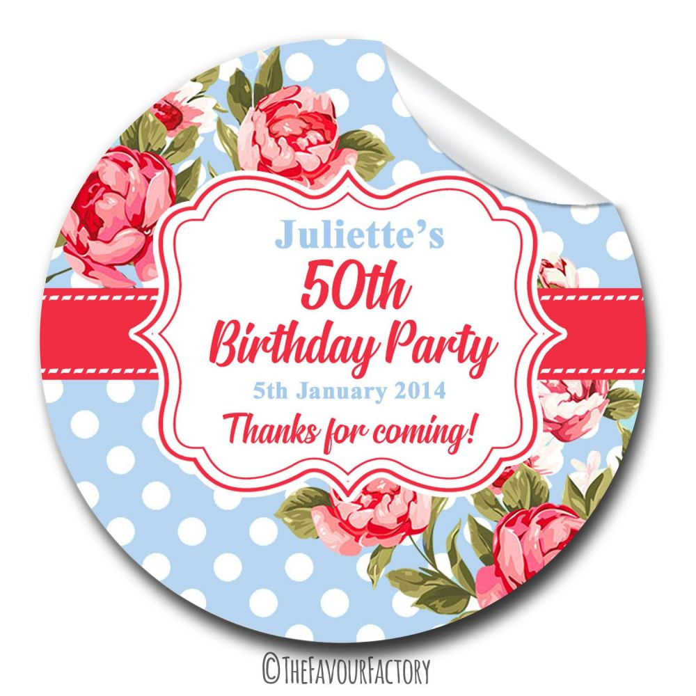 Cath Polka Dot Florals Personalised Adult Birthday Party Bag Favours Sticke