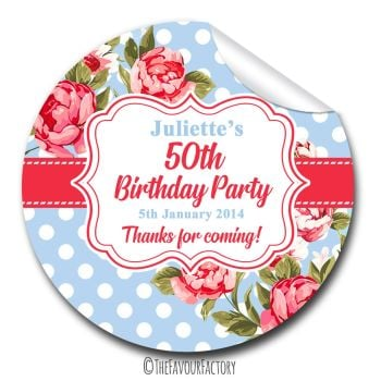 Cath Polka Dot Florals Personalised Adult Birthday Party Favour Stickers, 1xA4 sheet