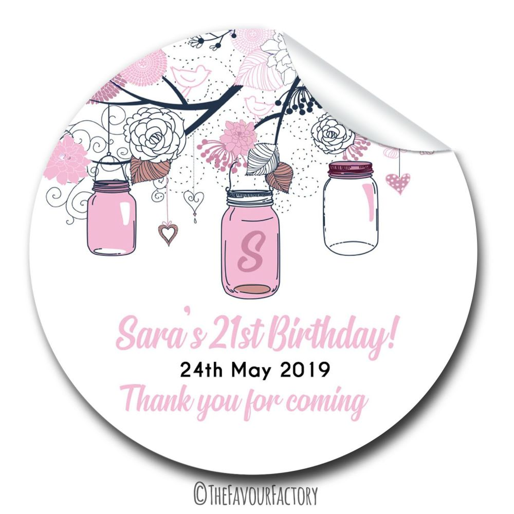 Mason Jars Personalised Adult Birthday Party Bag Favours Stickers, 1xA4 she
