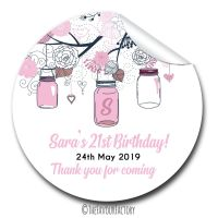 Mason Jars Personalised Adult Birthday Party Bag Favours Stickers, 1xA4 sheet