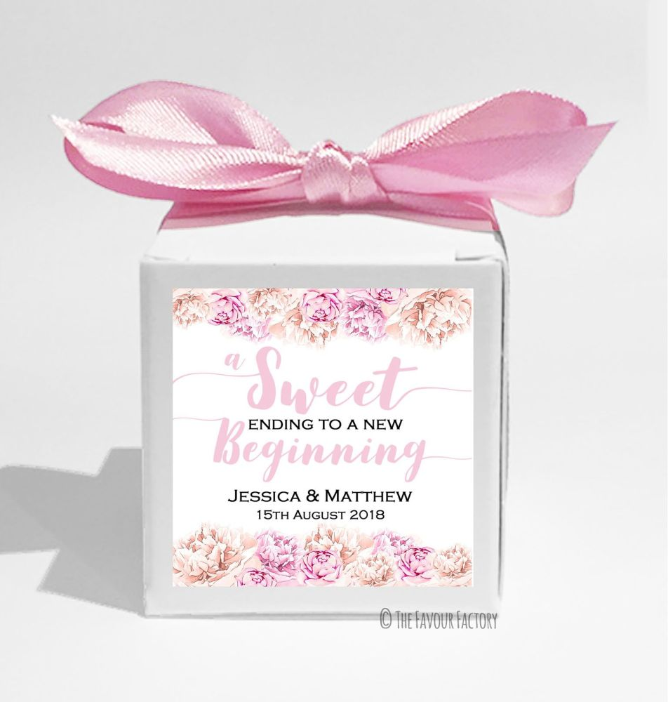 Personalised Wedding Favour Boxes with Ribbons & Stickers KITS x10