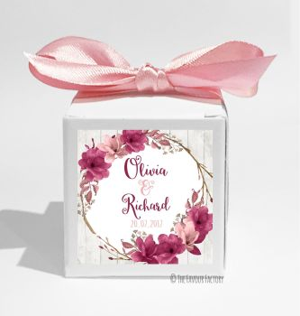 Boho Floral Wreath burgundy Rose Personalised Wedding Favour Cube Boxes KITS x10