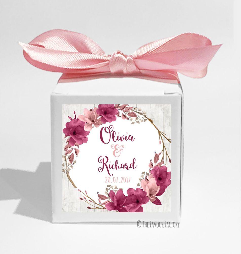 Boho Floral Wreath burgundy Rose Personalised Wedding Favour Cube Boxes KIT