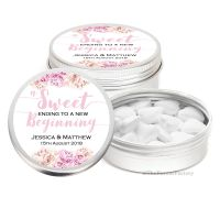 Sweet Ending Florals Personalised Wedding Favour Mint Tins x1