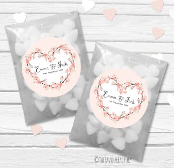 Peach Cherry Blossom Heart Wreath Personalised Wedding Favour Bags Kits x12