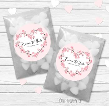 Pink Cherry Blossom Heart Wreath Personalised Wedding Favour Bags Kits x12