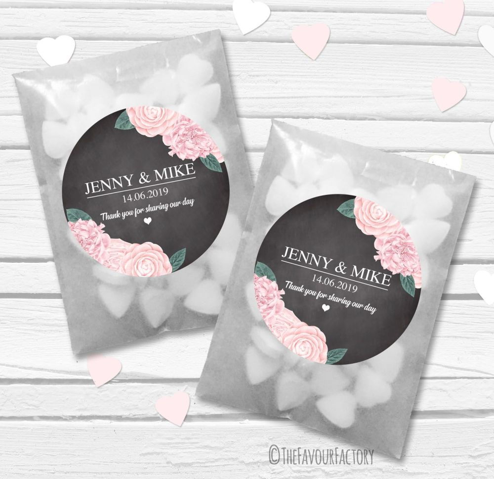 Peonies Personalised Wedding Favour Bags Kits x12