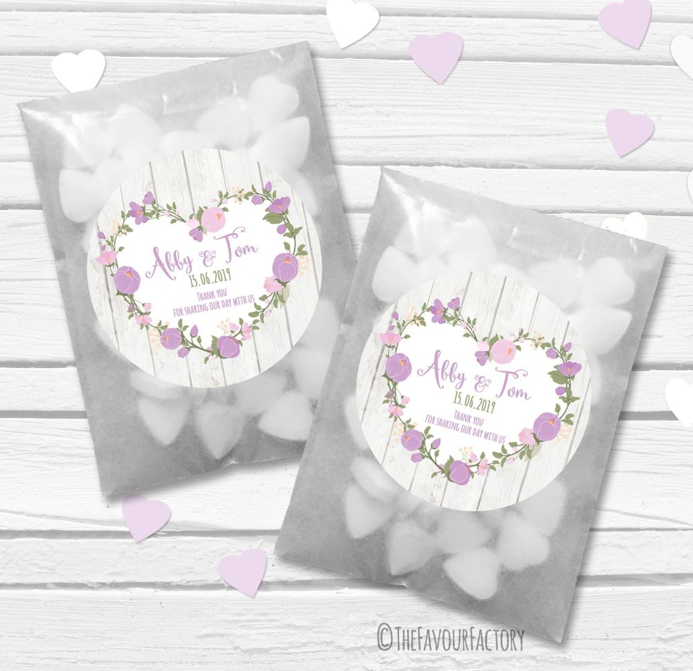 Lavender Floral Heart Boho Wooden Personalised Wedding Favour Bags Kits x12