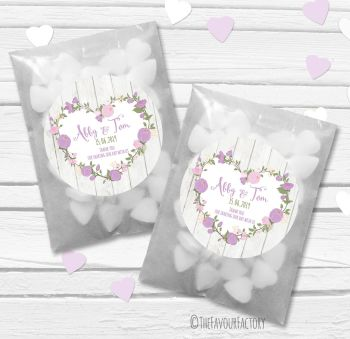 Lavender Floral Heart Boho Wooden Personalised Wedding Favour Paper Bags Kits x12
