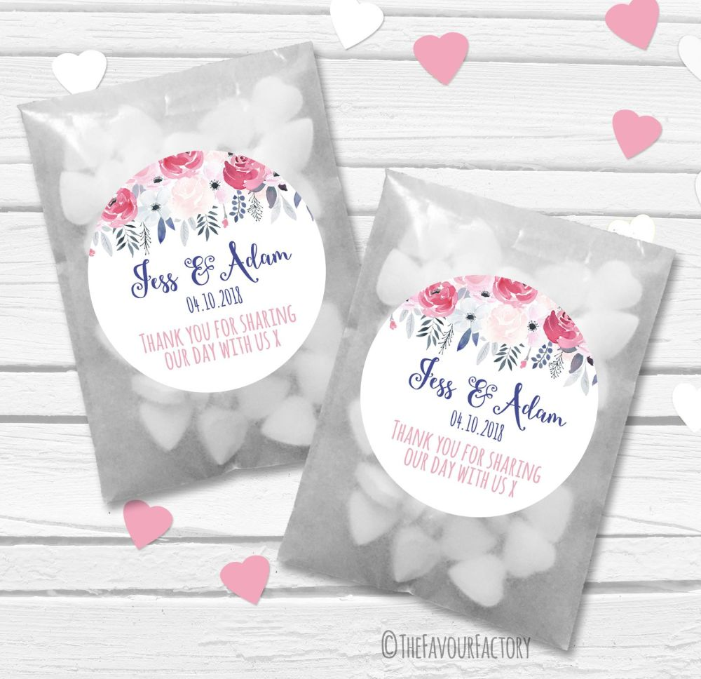 Midnight Rose Drop Personalised Wedding Favour Bags Kits x12