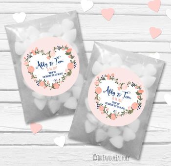 Navy Peach Heart Wreath Personalised Wedding Favour Bags Kits x12