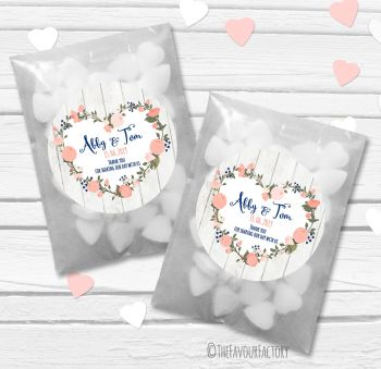 Navy Peach Floral Heart Boho Wooden Personalised Wedding Favour Bags Kits x12