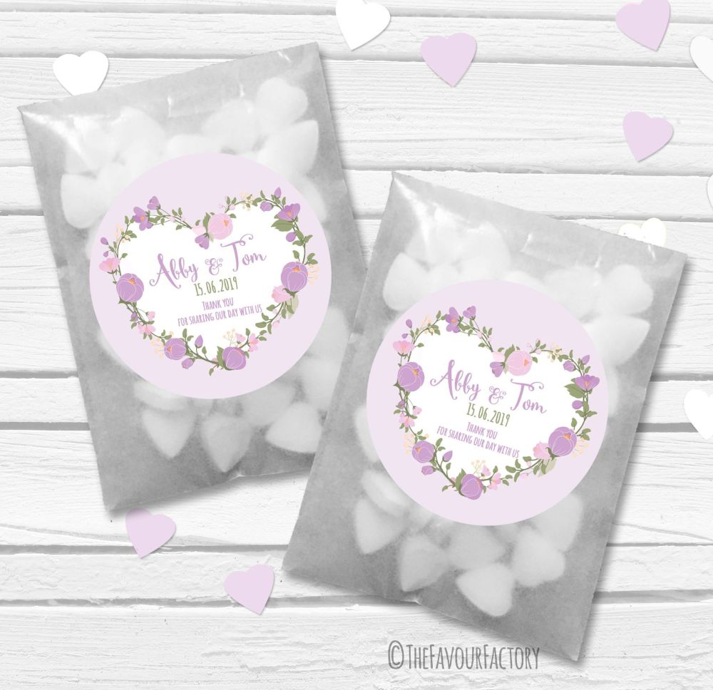 Lavender Floral Heart Personalised Wedding Favour Bags Kits x12