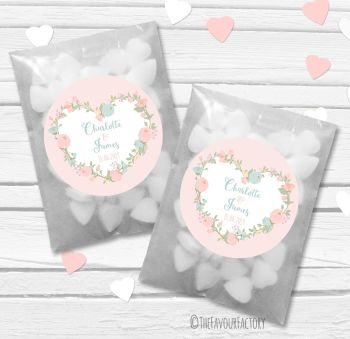 Pastels Floral Heart Personalised Wedding Favour Bags Kits x12