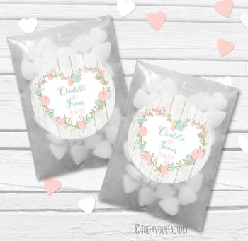 Pastels Floral Heart Boho Wooden Personalised Wedding Favour Bags Kits x12