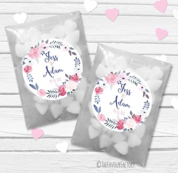 Midnight Rose Wreath Personalised Wedding Favour Bags Kits x12