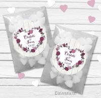 Plum Floral Heart Boho Wooden Personalised Wedding Favour Bags Kits x12