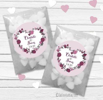 Plum Floral Heart Wreath Personalised Wedding Favour Bags Kits x12